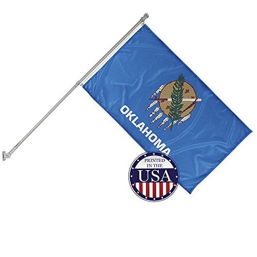 Vispronet - Oklahoma State Flag and 6ft Flagpole with Wall Mounting Bracket - 3ft x 5ft Knitted Polyester Flag, State Flag Collection, Flag Printed in The USA