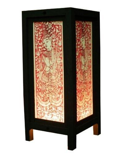 Home Oak Design Single (Thai Vintage Handmade ASIAN Oriental Thai Art Design Bedside Table Light Paper Lamp Shades Home Bedroom Garden Decor Modern Design (High-Season))