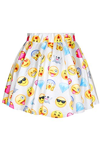 Pink Queen Women's Basic Funny Emoji Printed Strechy Flared Skater Skirt White by Pink Queen