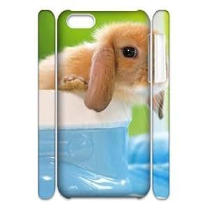 3D Pharrel Bunny iPhone 5C Case Cute Bunny, Design Protective Bunny, {White}