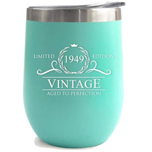 1949 70th Birthday Gifts for Women Men | Vintage Aged to Perfection Stainless Steel Tumbler | 12 oz Mint Tumblers w Lid | Funny Gift Ideas for Him Her Husband Wife Mom Dad | Insulated Cups 70 th bday]()