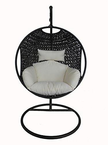 Bentley Garden Patio Outdoor Black Rattan Hanging Swing Chair With Cream Cushion