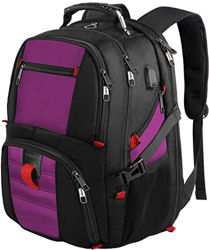 College Backpack, Extra Large Backpacks with USB Charging Port and Luggage Sleeve for Women and Men,TSA Friendly Travel Laptop Backpack,Anti-Theft Business Laptop Backpack Fits 17 Inch Laptops-Purple (Best Laptops For Graduate Students)