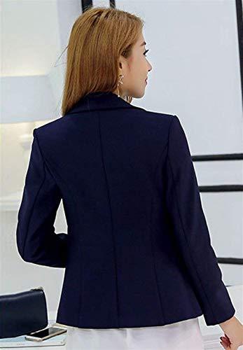 Colori Bavero Solidi Con Elegante Manica Lunga Fit Moda Business Da Blazer Tailleur Cappotto Ragazza Button Blau Giacca Slim Donna Autunno Primaverile Tasche aw64qOx