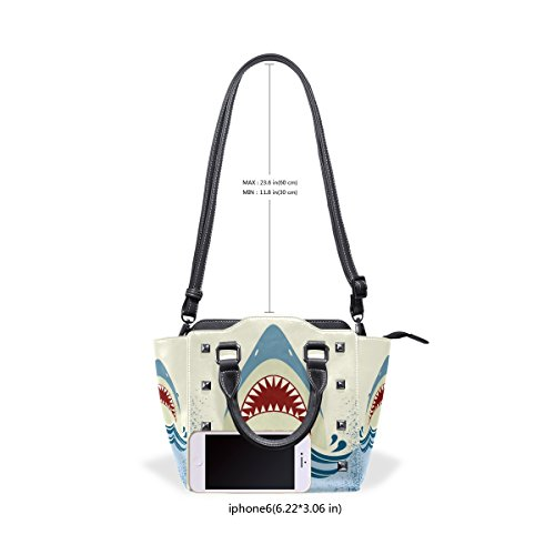 Women's Handbags Handle TIZORAX Jaws Shoulder Top Bags PU Leather Shark ETwwxqvt