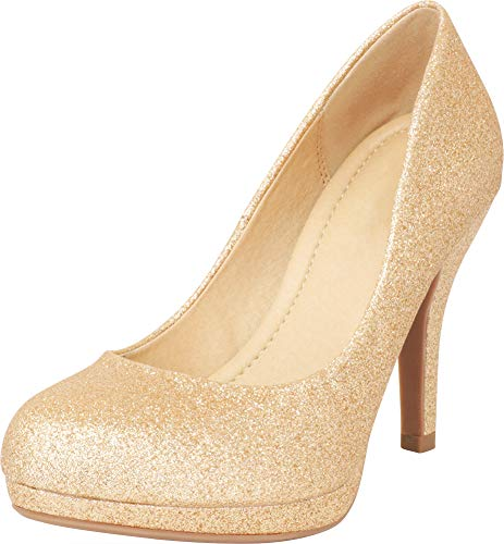 Cambridge Select Women's Closed Round Toe Padded Comfort Slip-On Platform Stiletto High Heel Pump (9 B(M) US, Gold Glitter)