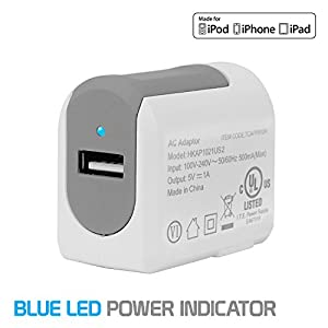 Cellet Home/Travel USB Wall Charger for iPhone 7, 7 Plus and all other devices - UL Certified –1 Amp (5W) USB Wall Charger (5ft. Apple MFI Certified Lightning 8 Pin to USB Cable Included)
