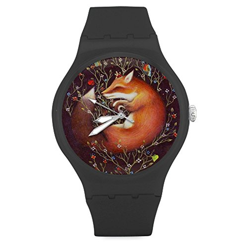 brothers-firends-gifts-personalized-gifts-funny-fox-sleep-unisex-round-rubber-sport-quartz-watchwatc
