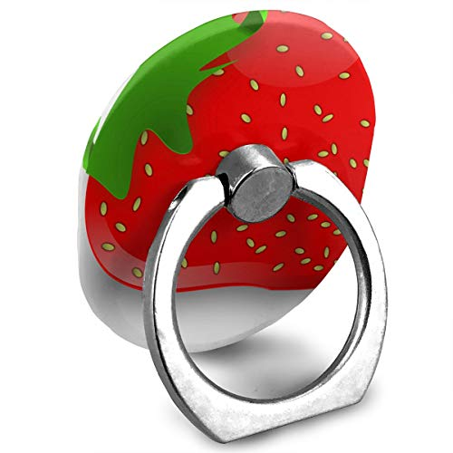 Fresh Strawberry Cell Phone Stand Custom Personalized Finger Ring Holder, 360° Rotation Mount Stand Grip for iPhone,iPad