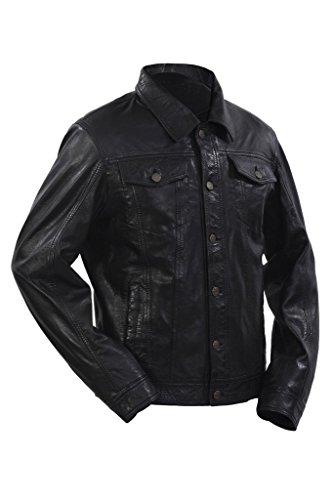 Negro gorro de Hombres de la de Slim la ocasional Fit cuero pantalones los vaqueros chaqueta camisa de TdOSRtqwxO