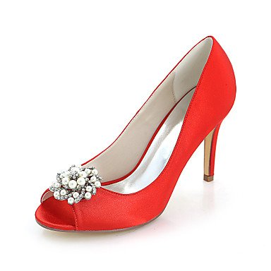 680195fa95be Pumpe Satin Wuyulunbi Heel Frühling Schuhe Stiletto Damenschuhe Imitation  Rot Pearl amp  Toe Strass Party