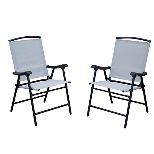 SLN 2-Pack Outdoor Patio Folding Lawn Chairs with Steel Frame, Portable for Garden, Camping, Beach, Deck Dining, Patio Chairs Set of 2, Black Frame, Beige