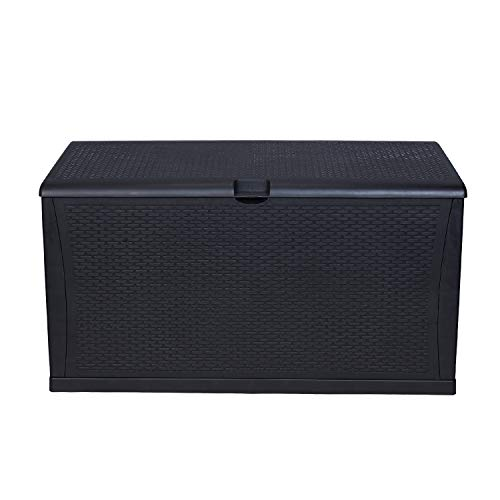 KOOLWOOM Deck Box, 120-Gallon Patio Outdoor Plastic Storage 47.2″ L x 24.01″ W x 24.80″ H Waterproof Black