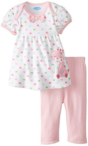 BON BEBE Baby-Girls Newborn Giraffe 2 Piece Dress Set, Multi, 6-9 Months
