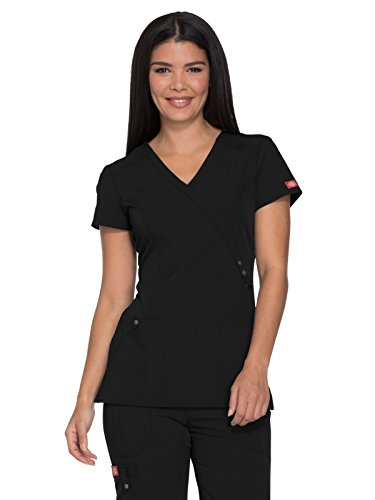 Xtreme Trim - Dickies Xtreme Stretch by Women's Mock Wrap Solid Scrub Top Medium Black