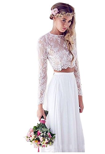 Ikerenwedding Women's Lace Long Sleeve Two-pieces Summer Beach wedding Dresses White US02