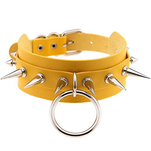 FM FM42 Yellow Punk Rock Gothic Emo Large O-Ring Spike PU Simulated Leather Choker Collar Necklace PN2260