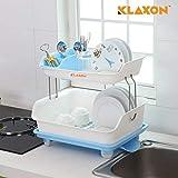 Klaxon Kitchen Dish Drainer Rack Plastic 2 Layer Dish Drainer Rack Basket - Blue & White