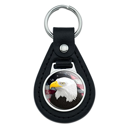 Bald Keychain Eagle (Graphics and More American Bald Eagle Flag USA Patriotic Black Leather Keychain)