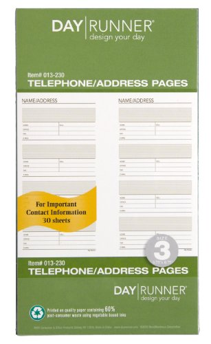 Day Runner Undated Planner Telephone and Address Refill, 3.75 x 6.75 Inches -