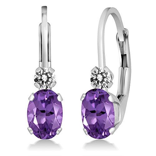 0.77 Ct Oval Purple Amethyst White Diamond 14K White Gold Earrings