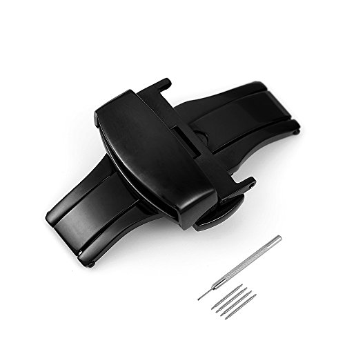 iStrap Stainless Steel Butterfly Deployant Buckle Double Push Spring Watchband Clasp Color & Width (16mm 18mm and 20mm)