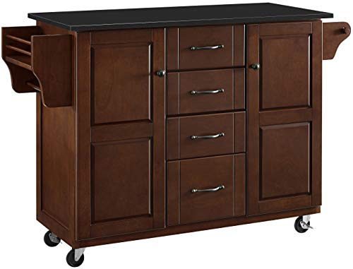 Crosley Furniture KF30174EMA Eleanor Kitchen Cart with Solid Black Granite Top, Mahogany ()