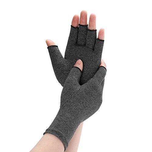 Arthritis Compression Gloves Relieve Pain from Rheumatoid, RSI, Carpal Tunnel, Rheumatiod, Tendonitis, Hand Gloves Fingerless for Dailywork - Men & Women - Open Finger (Black, Medium) by Daico