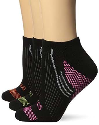 Saucony Women's 3 Pack River No Show Socks, Black, 9-11/Shoe Size 6-10.5