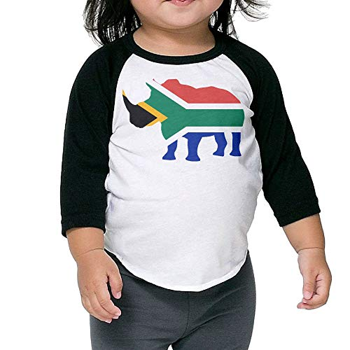 QPKMRTZTX0 Boys Girls Kids & Toddler South Africa Flag Rhino-1 Long Sleeve Tees 100% Cotton by QPKMRTZTX0