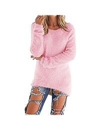 Shinekoo Women Round Neck Long Sleeve Irregular Autumn Winter Sweater Tops