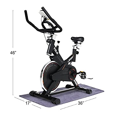 URSTAR Ultra-silence Indoor Upright Cycling Bike with LCD Monitor Exercise Bike for Health and Fitness (Commercial Use-Black)