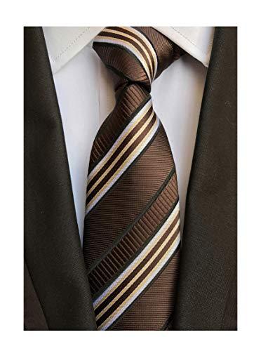(Men's Coffee Brown White Tie Silk Luxury Unique Designer Cool Self Dress Necktie)