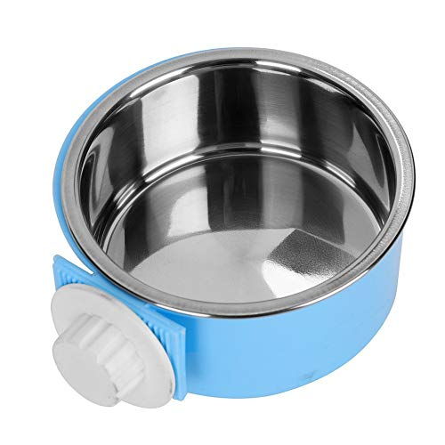ITODA 2 in 1 Hanging Pet Bowl Detachable Food Water Feed Dish Cup Stainless Steel Bolt Hanger Healthy Puppy Dog Feeder…