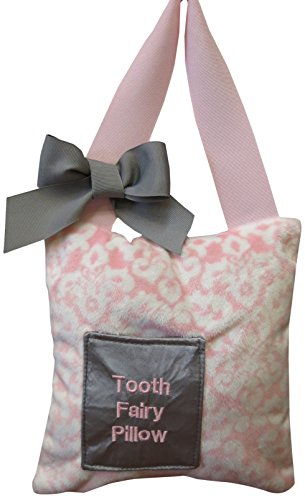 Caught Ya Lookin' Tooth Fairy Pillow, Pink Damask Minky, White, Gray from Caught Ya Lookin'