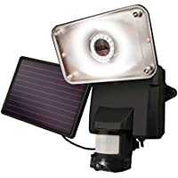 MAXSA Solar Powered Wireless Outdoor Video Security Camera and Floodlight, Motion-Activated, Black 44642