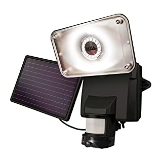 MAXSA 44642 Solar Powered Motion Activate Wireless Video Security Camera and Floodlight, Black