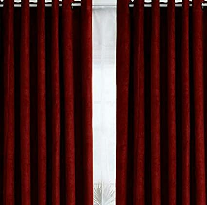 Swarnadeep Maroon Colour Solid Polyester Window Curtain 5 Feet (Set of 2)