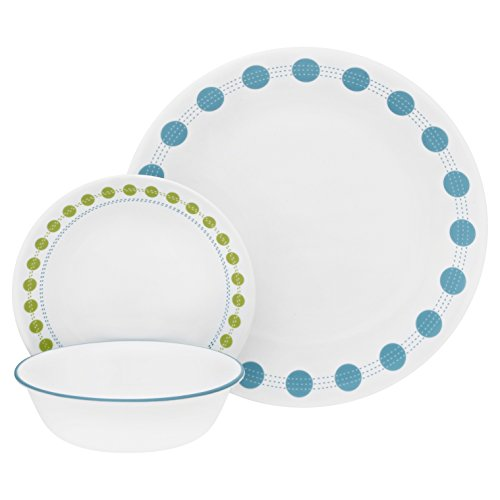 Corelle 18-Piece Service for 6, Chip Resistant, South Beach Dinnerware Set,