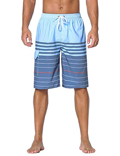 (Nonwe Men's Swimming Shorts Striped Summer Holiday Surf Quick Dry Beach Shorts Blue 28)