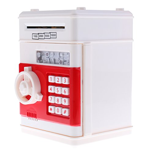 MagiDeal Caja de Ahorro de Dinero de Moneda Forma de Banco Automático de Cajero Automático en Efectivo Automático - Blanco