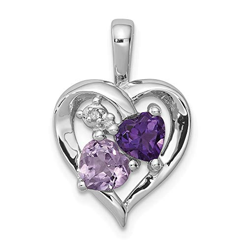 925 Sterling Silver Purple Amethyst Pink Quartz Diamond Pendant Charm Necklace Gemstone Fine Jewelry Gifts For Women For ()