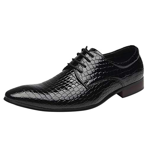 Respctful✿Men Formal Slip On Oxford Shoes Leather Lace Up Classic Comfortable Modern Wedding Shoes Black