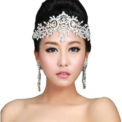 Lady Rhinestone Wedding Bridal Head Wear Hair Band Headdress Chain Jewelry Decoration-NO.421 ()