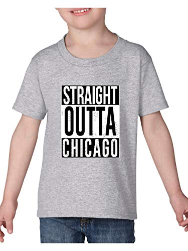 Straight Outta Chicago Novelty Hip Hop Music Fan Gift Toddler Heavy Cotton Kids Tee (5TSG) Sport Grey ()