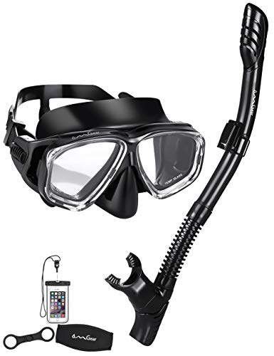 OMGear Snorkel Set Snorkeling Gear Package Diving Set Silicone Dive Mask Snorkel Equipment Goggles Anti-Fog Anti-Leak Neoprene Mask Strap Scuba Diving Freediving Spearfishing Swimming (black2)