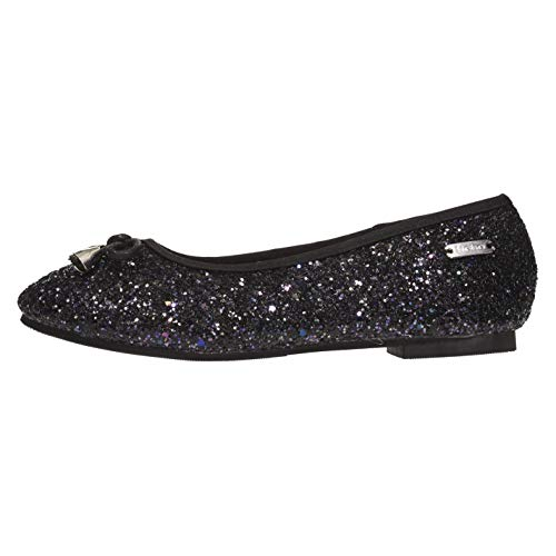Girls Dressy Leather Shoes - bebe Girls Flats Size 13 Round Toe Chunky Glitter with Bow and Metallic Logo Hardware Slip-On Shoes Flexible PU Leather Black Multicoloured