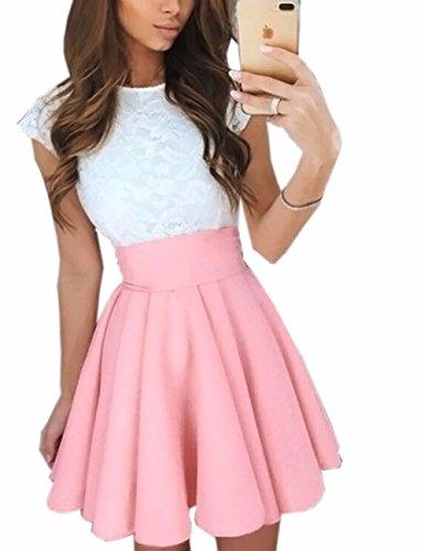 Imagine Women's Basic Solid Versatile Stretchy Flared Casual Mini Skater Skirt PI-S