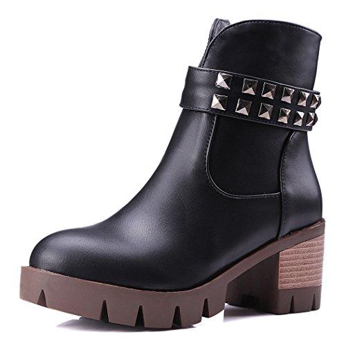 QIAN Botas ZQ@QX El otoño y el invierno de cabeza redonda Taiwán impermeable grueso con zapatos de tacón elegante y versátil estudiantes, botas cortas botas hembra Black
