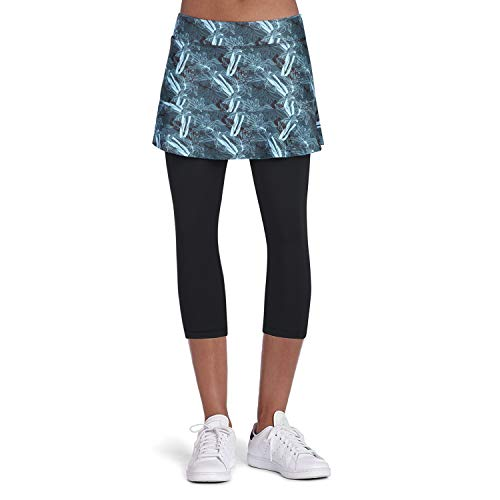 ANIVIVO Tennis Skirted Leggings Women with Pockets Capris Skorts Leggings with Skirts& Women Tennis Tight Pants Sports Skirted Pants Tennis Clothing(DarkGreenish Skirts,S)